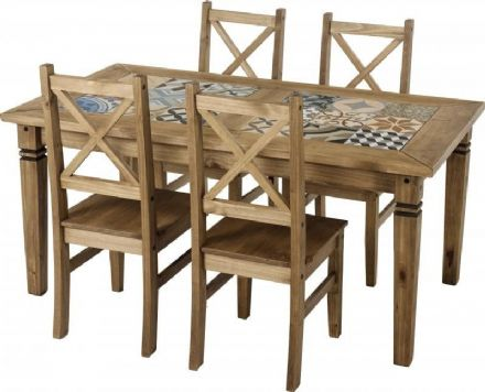 Pine Tile Top Rectangular Table & 4 Chairs Dining Set